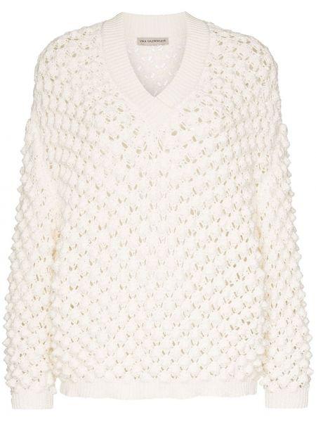 Акриловый свитер с V-образным вырезом со спущенными плечами в рубчик Vika Gazinskaya