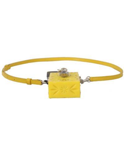 Żółty z paskiem skórzany etui na okulary Dolce And Gabbana