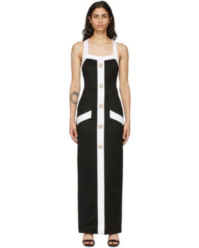 Czarny długo sukienka z wiskozy z kieszeniami Balmain