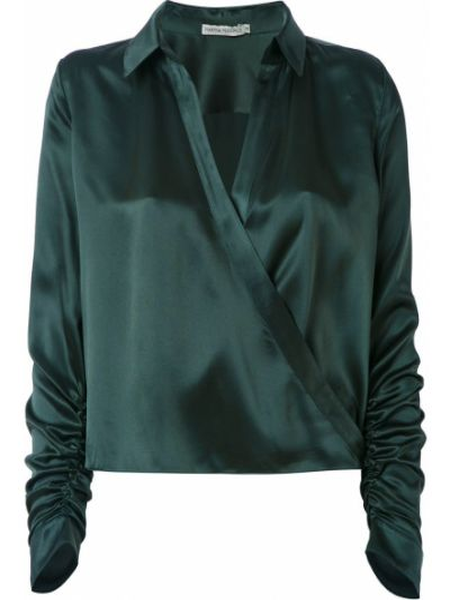 Шелковая рубашка с воротником с запахом с драпировкой Martha Medeiros