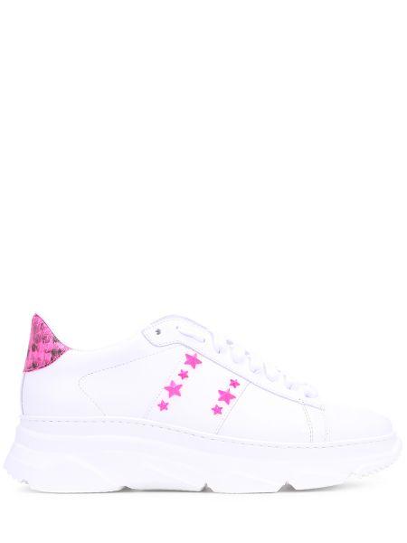 Кожаные классические розовые кроссовки на шнуровке Stokton