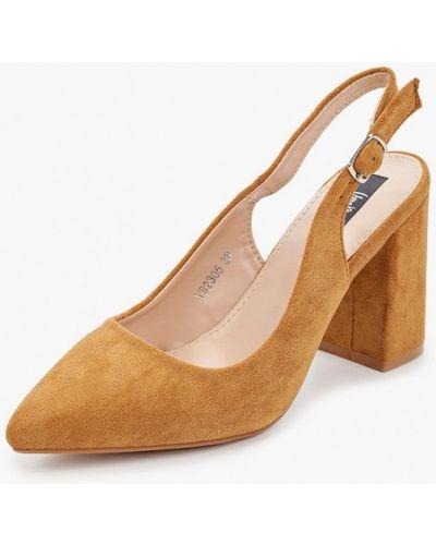 Велюровые коричневые туфли с открытой пяткой Vera Blum
