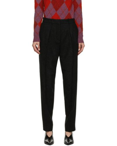 Брючные шерстяные черные брюки со складками A.p.c.