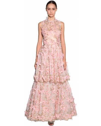 Розовое платье с вышивкой из фатина Luisa Beccaria