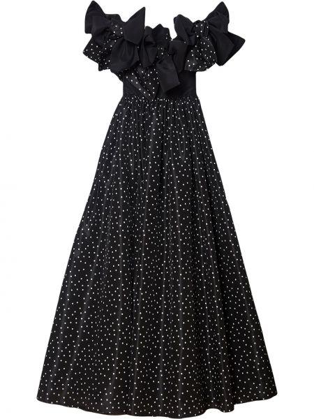 Шелковое черное платье макси в горошек Carolina Herrera