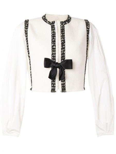 Шерстяной белый удлиненный пиджак с декоративной отделкой Giambattista Valli