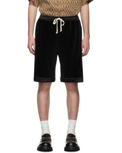 Хлопковые черные шорты с карманами Gucci