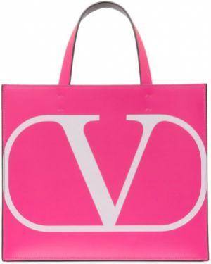Сумка шоппер розовый с леопардовым принтом Valentino