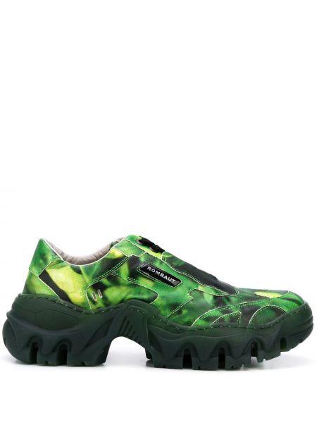 Zielone sneakersy skorzane sznurowane Rombaut