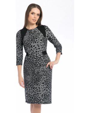 Деловое платье серое с поясом Modellos