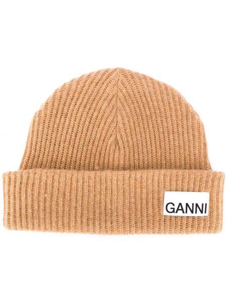Бежевая вязаная шерстяная шапка в рубчик Ganni
