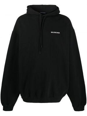 Bawełna ze sznurkiem do ściągania czarny bluza z kapturem z kapturem Balenciaga