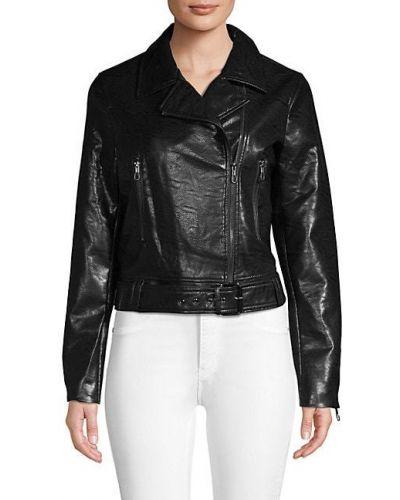 Черная кожаная длинная куртка с подкладкой T-tahari