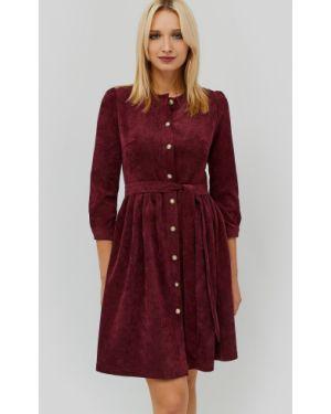 Расклешенное платье миди с поясом вельветовое Cardo