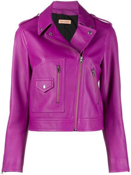 Кожаная короткая куртка на молнии байкерская Yves Salomon