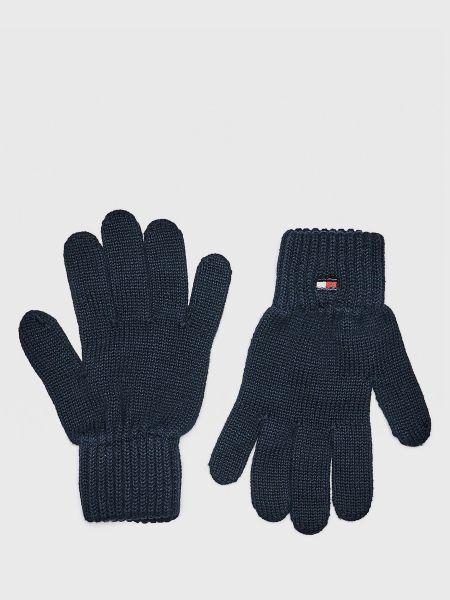 Синие хлопковые перчатки с вышивкой Tommy Hilfiger