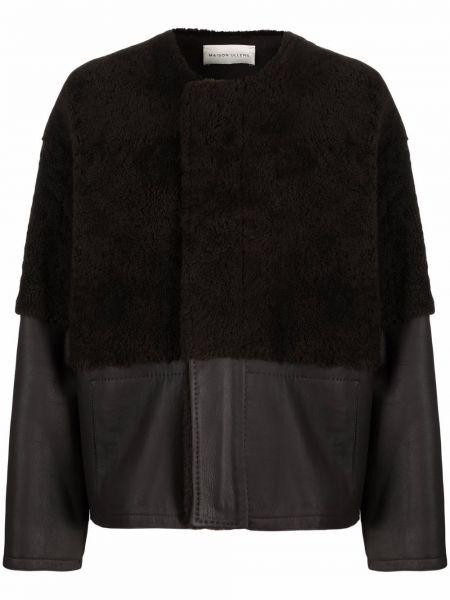 Кожаная куртка длинная - коричневая Maison Ullens