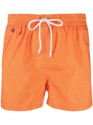 Оранжевые пляжные плавки-боксеры с карманами Kiton