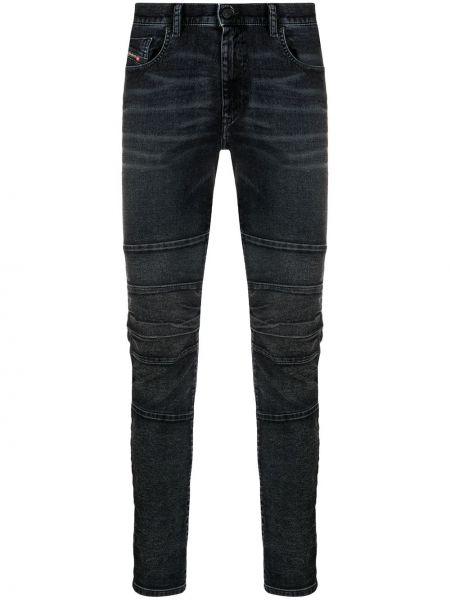 Хлопковые синие джинсы-скинни на молнии Diesel