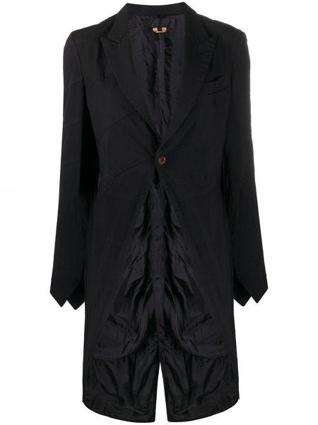 Черное длинное пальто с капюшоном свободного кроя Comme Des Garçons Comme Des Garçons
