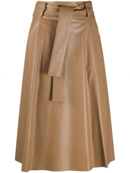 Бежевая с завышенной талией юбка с поясом из вискозы Drome