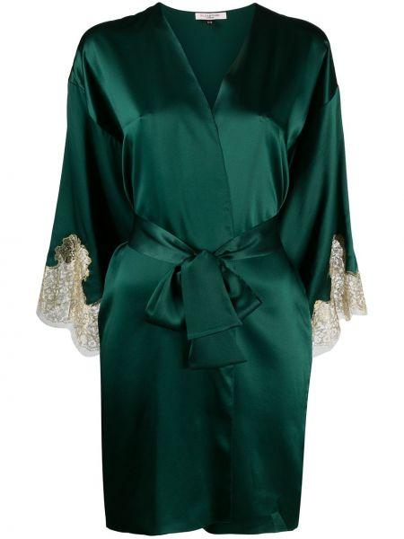 Zielony szlafrok koronkowy z jedwabiu Gilda & Pearl