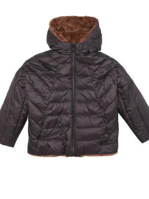 Puchaty brązowy płaszcz dwustronny Bonpoint