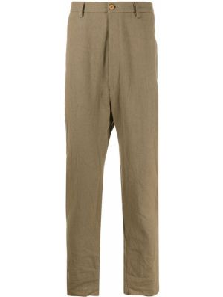 Хлопковые зеленые брюки чиносы на пуговицах Poème Bohémien