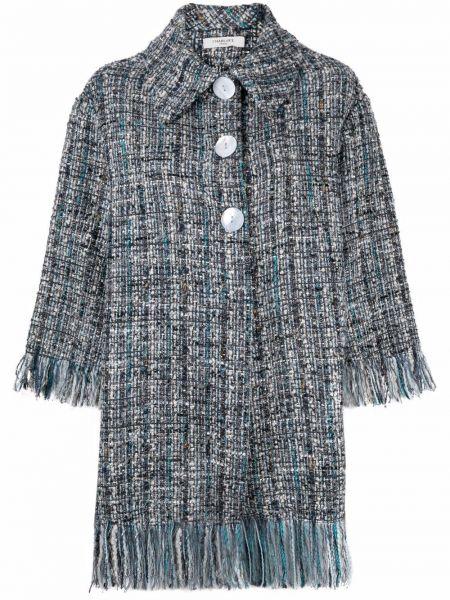 Синее пальто оверсайз твидовое Charlott
