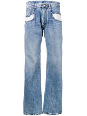 Хлопковые синие расклешенные джинсы с карманами на пуговицах Maison Margiela