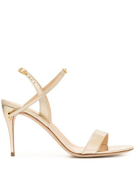 Кожаные открытые босоножки на высоком каблуке на каблуке золотые Jennifer Chamandi