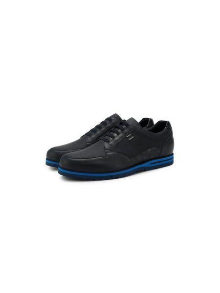 Кожаные кроссовки из кожи крокодила на шнуровке Zilli