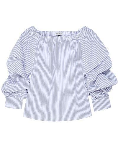 Блузка с открытыми плечами в полоску на резинке ли-лу