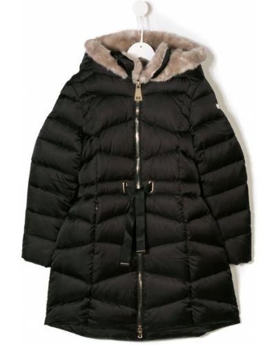 Длинное пальто пуховое черное Treapi