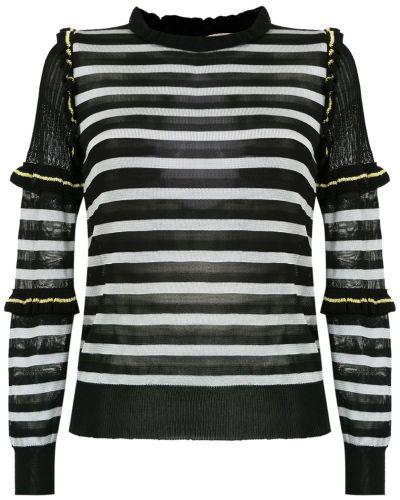 Блузка с длинным рукавом в полоску с рюшами Andrea Bogosian