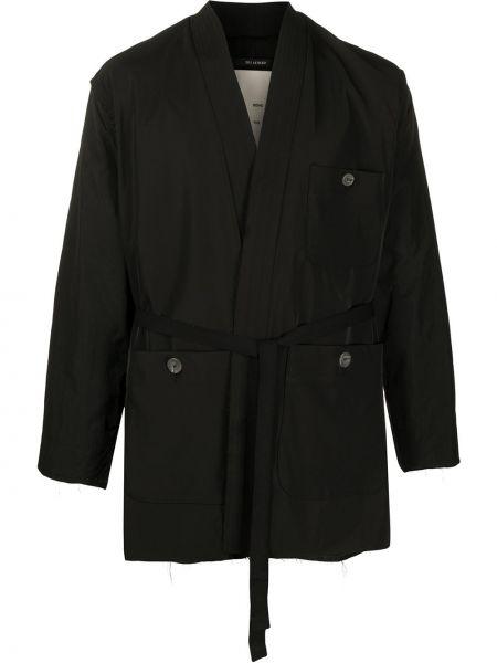 Czarna długa kurtka z długimi rękawami kopertowa Song For The Mute