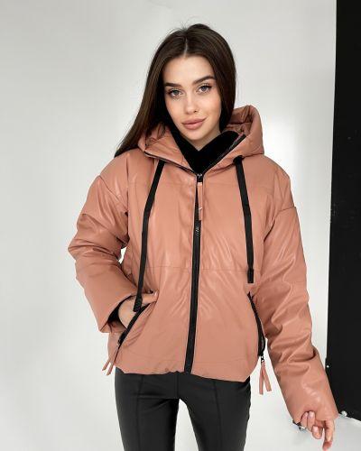 Кожаная куртка с капюшоном - бежевая Rozetka