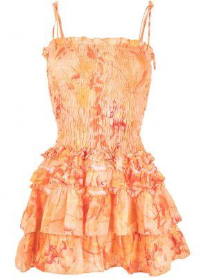Оранжевое платье со сборками Bambah