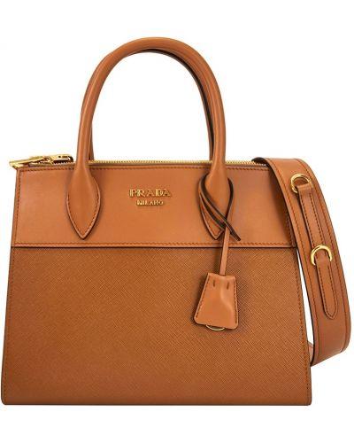 Коричневая кожаный сумка Prada