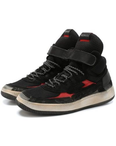 Высокие кроссовки на шнуровке комбинированные Premiata