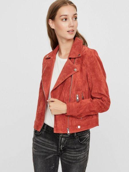 Кожаная куртка весенняя красная Vero Moda