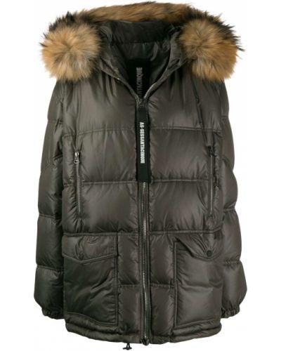 Армейское пуховое коралловое длинное пальто с опушкой As65