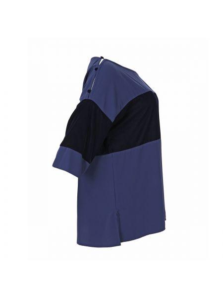 Велюровая сиреневая прямая блузка с длинным рукавом с вырезом Mat Fashion