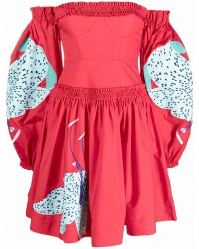 Платье мини в цветочный принт - красное Yuliya Magdych
