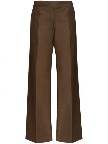 Коричневые нейлоновые свободные брюки со складками свободного кроя Matériel