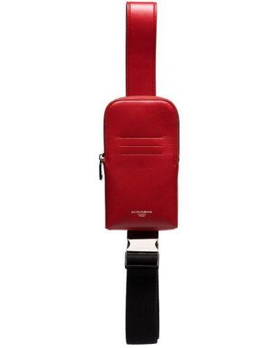 Красный кожаный сумка на плечо на молнии Dolce & Gabbana