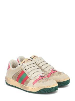 Bawełna skórzany sneakersy Gucci Kids