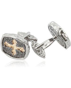 Czarne złote spinki do mankietów z diamentem Hellmuth