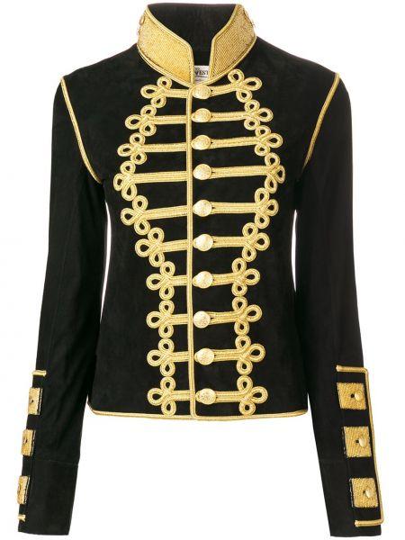 Черный пиджак милитари с воротником на пуговицах Jessie Western