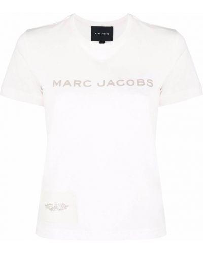 Хлопковая белая прямая футболка с вырезом Marc Jacobs